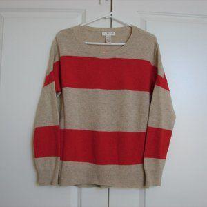 Kenar Beige Red Striped Oversize Crewneck Sweater